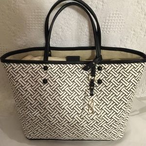 COLE  HAAN white black coated canvas tote